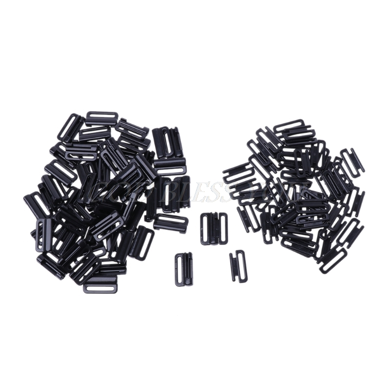 50PCS Craft Plastic Rectangle Tape Closure Hook Clasp Waist Extender Bra Clip Hook
