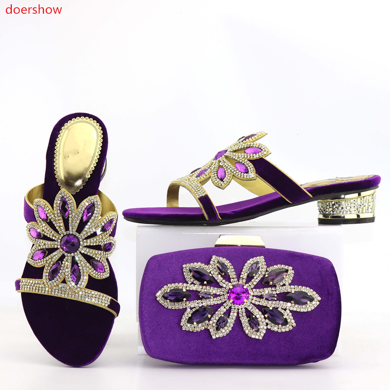 doershow purple Shoes and Bag To Match High Quality Italian Shoe and Bag Set Nigerian Party Shoe and Bag Set Wedding  DA1-15 top selling italian shoes and bag to match good quality fashionable shoes and bag set for lady doershow pme1 12