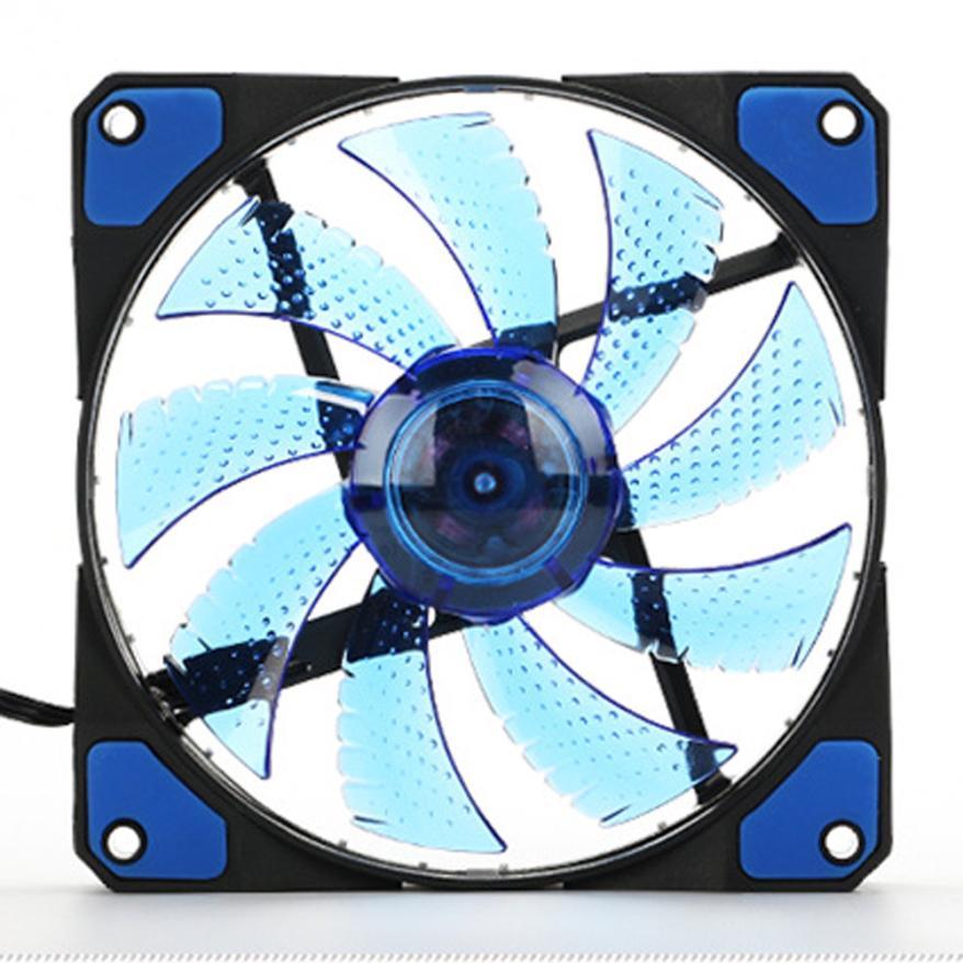 Drop shipping 15 LED Light Quite 120mm DC 12V 4Pin PC Computer Case Cooling Cool Fan Mod Aug 10 factory price binmer hot selling 1pcs 120mm 120x25mm 12v 4pin dc brushless pc computer case cooling fan 1800prm drop shipping