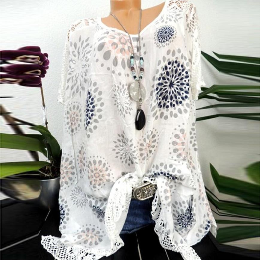 Plus Size S-5XL Tops Summer Lace Women Blouse Patchwork Floral Printed Batwing Short Sleeve Shirt 2018 Tunic Blusas Feminina#ghc