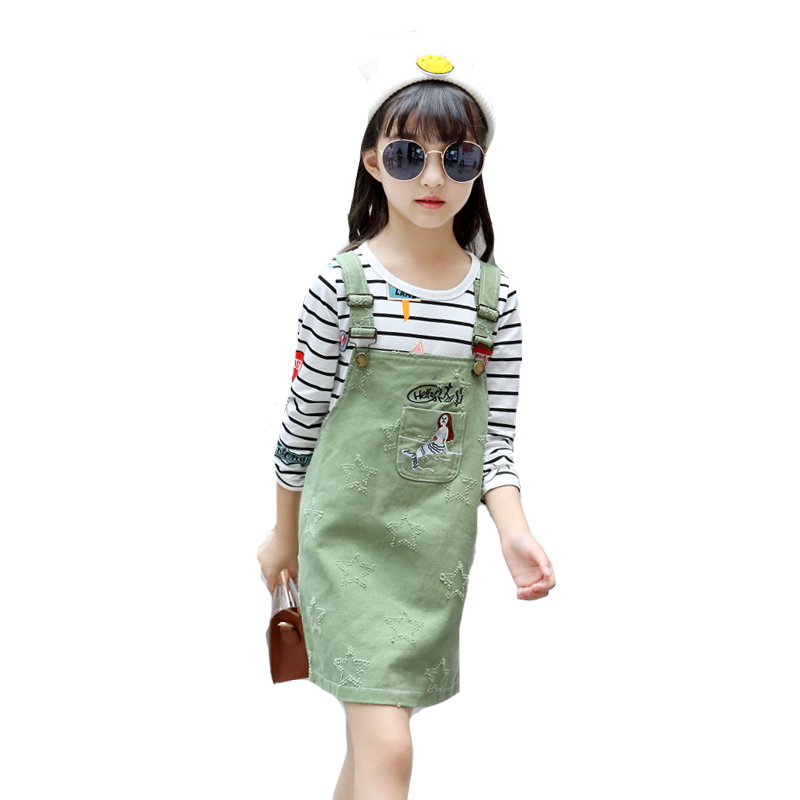 Kids Clothes Sets For Girls Outfits Cartoon Overalls For Girls Long Sleeve Striped T-Shirts 2Pcs Autumn Girls Clothing Sets 4-12