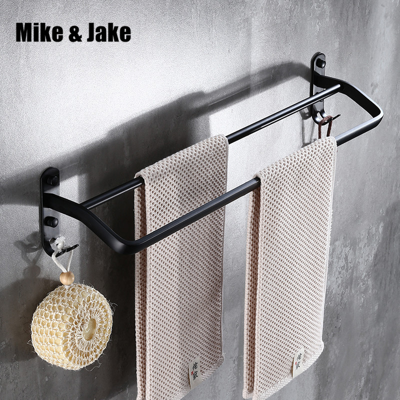 50cm Bathroom space aluminum black double towel bar with hook towel holder bathroom accessories single towel rack shelf MH60018 032365bathroom shelf bathroom shelf convenient rack with hook accessories colorful moistureproof environmental beautiful
