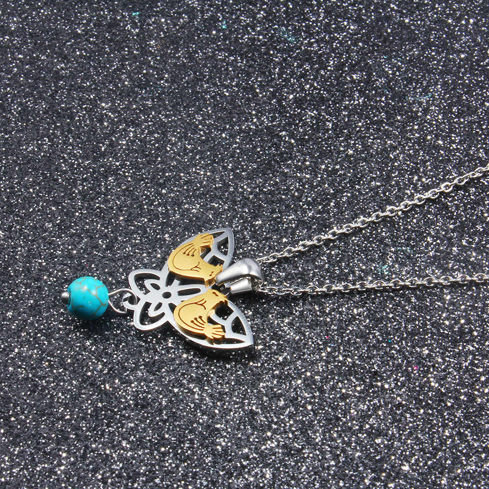 DICAYLUN Butterfly Necklace Earrings Jewelry Sets For Women Gold Birds Blue Bead Stainless Steel Chain Pendant Fashion Gifts