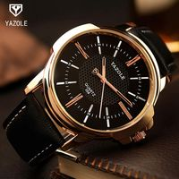 YAZOLE Rose Gold Wrist Watch MenTop Brand Luxury Famous Male Clock Quartz Watch Golden Wristwatch Quartz