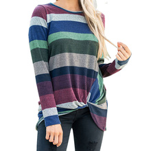 2019 New Brand Autumn Spring T-shirt Women Striped Long Sleeve Irregular Knotted T-Shirts Sexy O Neck Casual Tops