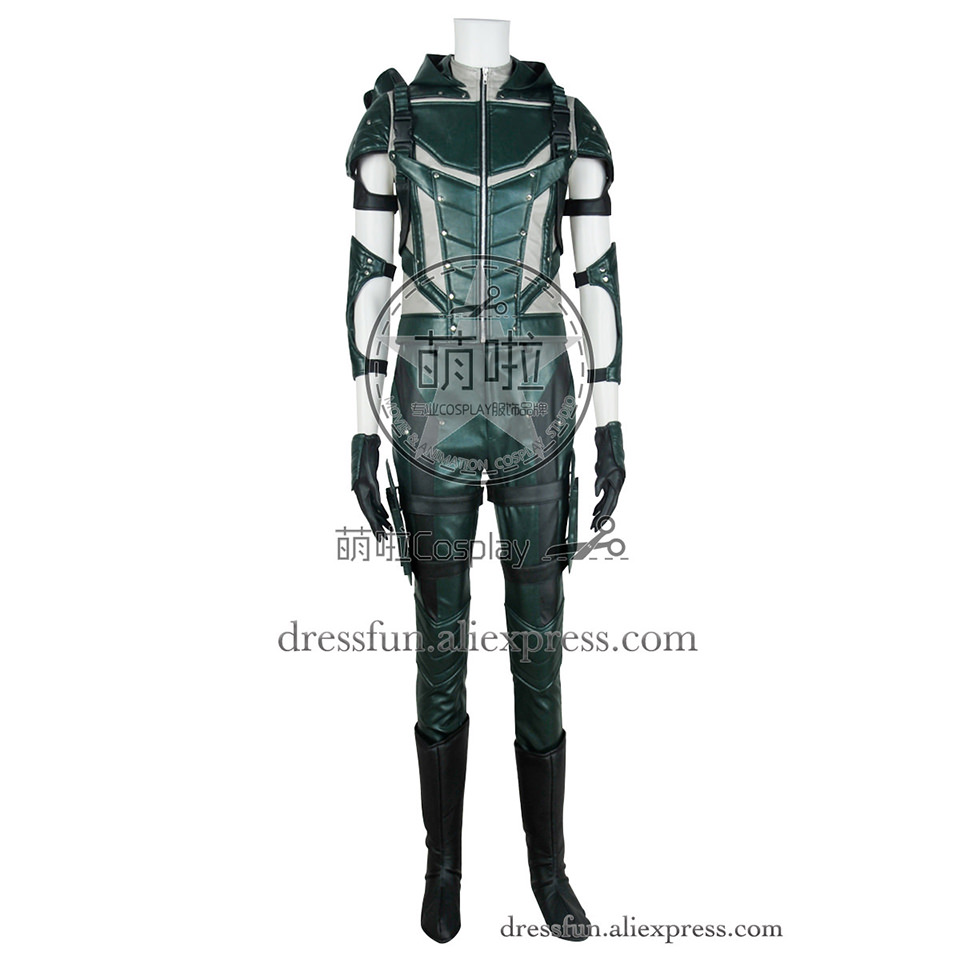 Green Arrow Oliver Queen Cosplay Costume Artificial Leather Uniform Suit Halloween Fast Shipping Good Products Fine Clothing
