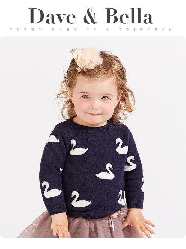 20894d75f027 DBM8905 Dave Bella Baby Girls Swan Print Sweater Children Knitted ...