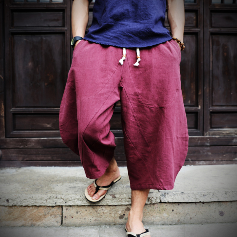 Boho Di Stile Allentato Coulisse Jogger Uomini Di Vitello-lunghezza Pantaloni Stile Harem Morbido Lino Gamba Larga Pantaloni Hiphop Streetwear Maschio Baggy Pantaloni
