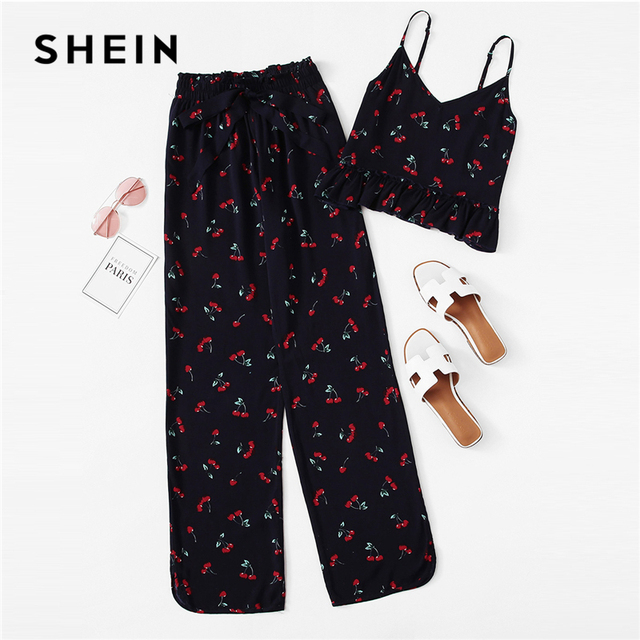 SHEIN Cherry Print Ruffle Cami   Pants PJ Set Multicolor Spaghetti Strap  Knot Sleepwear Women Summer Sleeveless Casual Nightwear 5d034d15f