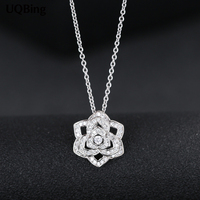 Wholesale 925 Sterling Silver Necklaces Full Crystal Zirconia Rose Flower Pendants Necklaces Jewelry Collar Colar De