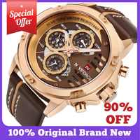 Relojes Para Hombre de NAVIFORCE, reloj de pulsera deportivo de cuero para hombre, reloj de pulsera de lujo de 3 bar, resistente al agua