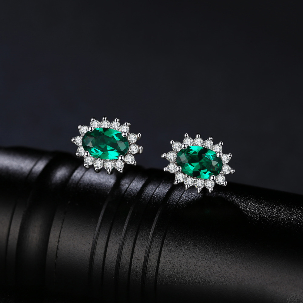Responsible Jewelrypalace Stud Earrings For Women 0.85ct Created Emerald Charm 925 Sterling Silver Fine 2019 Fashion Brand Jewelry Moderate Price Fine Jewelry
