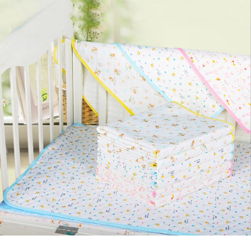Waterproof Urine Printed Mat Cover Fit Reusable Washable Baby Infants Cotton Blue Pink Yellow Selectable Changing Pad