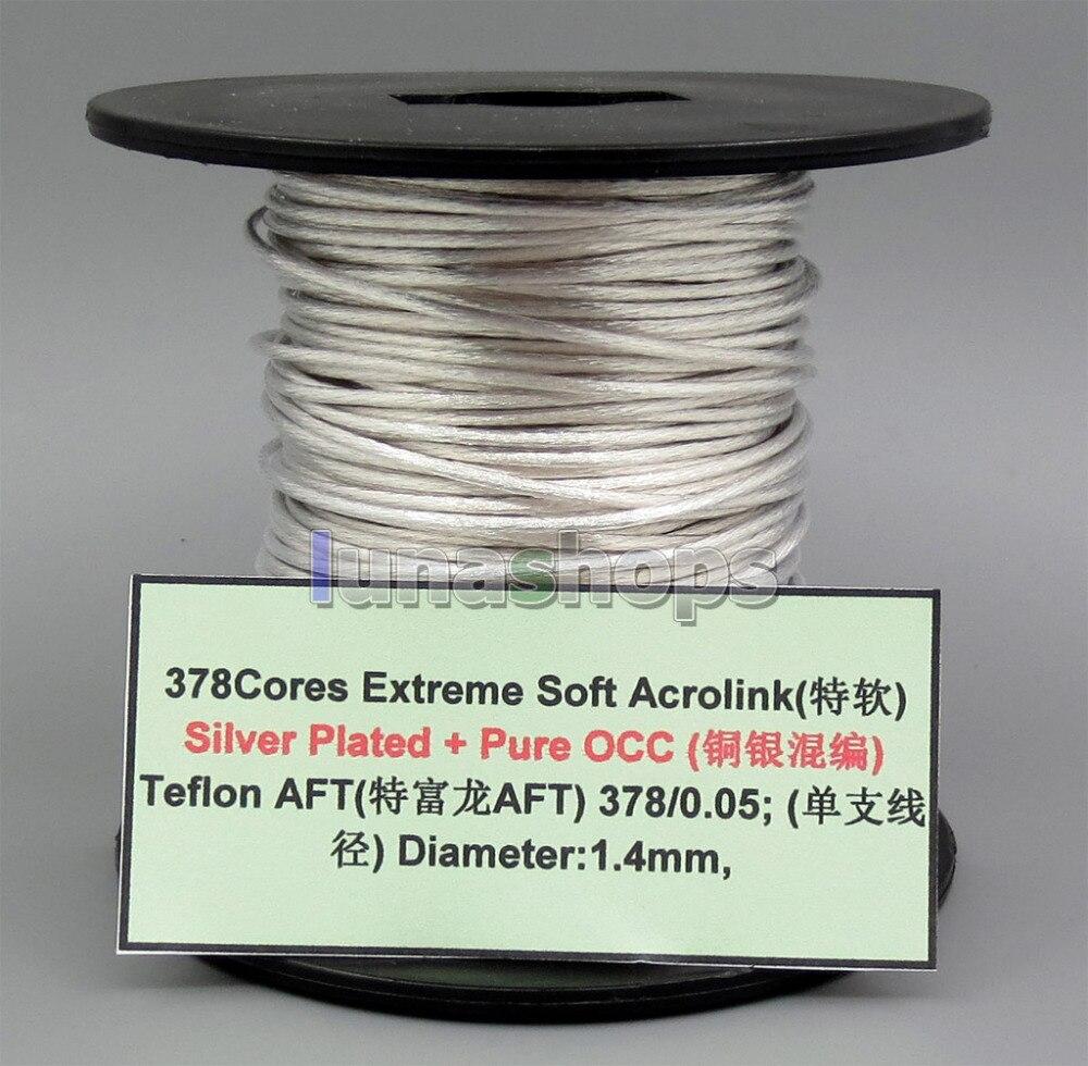 5 m czystego srebra OCC sygnału Teflo AFT mocy Audio niestandardowe DIY kabel 378*0.05mm średnica: 1.4mm LN005639 w Akcesoria do słuchawek dousznych od Elektronika użytkowa na  Grupa 1