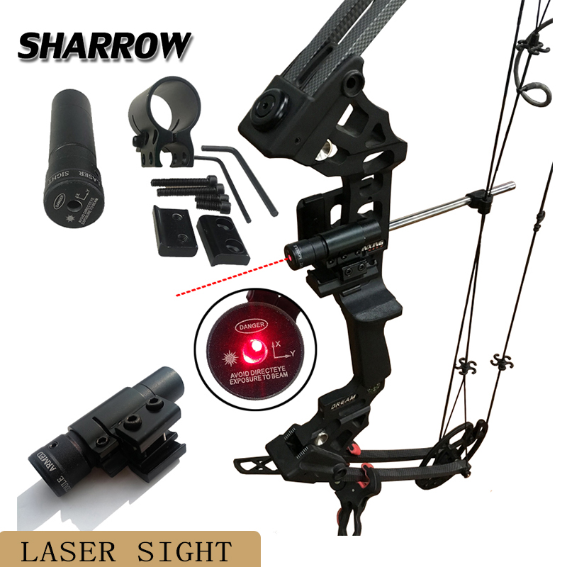 Bow Sight 50-100M Range 635-655nm Red Dot Laser Sight Pistol Adjustable 11mm 20mm Picatinny Rail Hunting Accessories