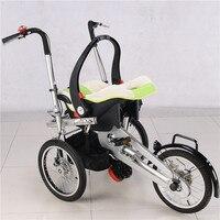 Neugeborenen Drei Räder Fahrrad Kinderwagen Infant Grüne Farbe Trolley mit Auto Sicherheit Sitze 3 in 1 Kinderwagen mit Schlaf korb