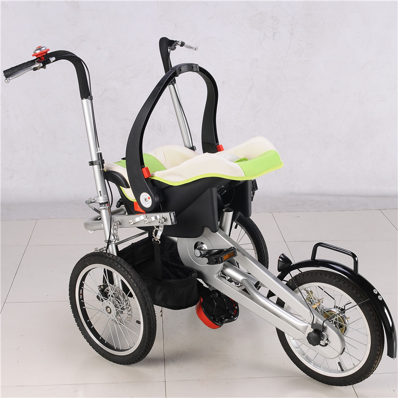 Newborn Baby Three Wheels Bike Stroller Infant Green Color Trolley with Car Safety Seats 3 in 1 Prams with Sleeping Basket 2017 real sale bicicleta infantil kids scooter bikes four flash wheels breaststroke baby swing bike ride on toy more safety