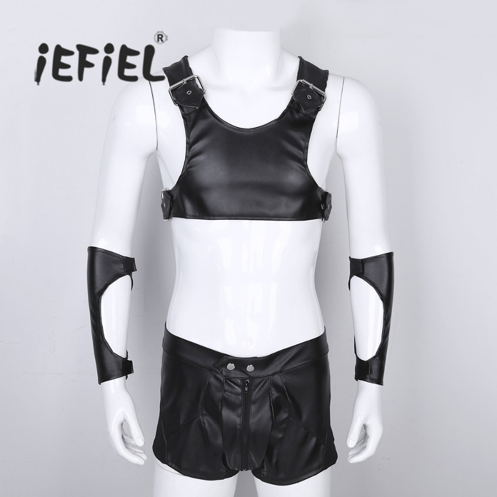Set of 3 Mens Faux Leather Roman Gladiator Adult Costume Outfits Sleeveless Short Top and Boxer Briefs Shorts with Arm Guards