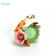 CSxjd  Elegant women rings Enamel glaze owl Flower Ring jewelry