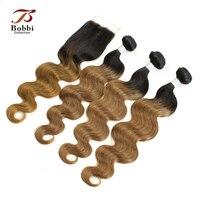 ボビー·コレクション3ピースオンブル人間の髪バンドルクロージャーt 1b 30ツートン色のブラジルボディ波の毛織り
