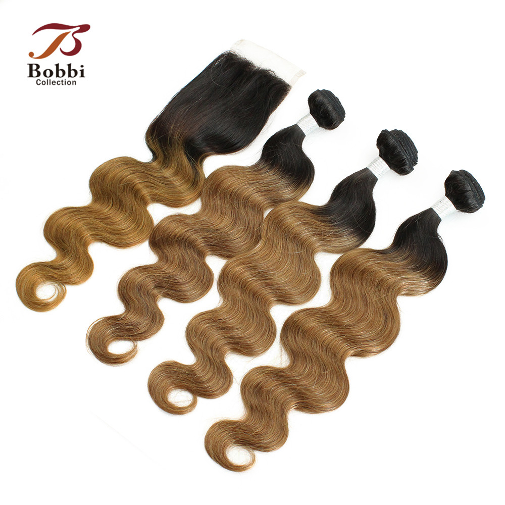 2/3 Bundles With Closure T 1B 30 Brazilian Body Wave Ombre Brown Auburn Non Remy Human Hair Weave BOBBI COLLECTION