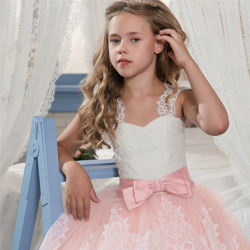 HTB1s.m0RQvoK1RjSZFwq6AiCFXah Vintage Flower Girls Dress for Wedding Evening Children Princess Party Pageant Long Gown Kids Dresses for Girls Formal Clothes