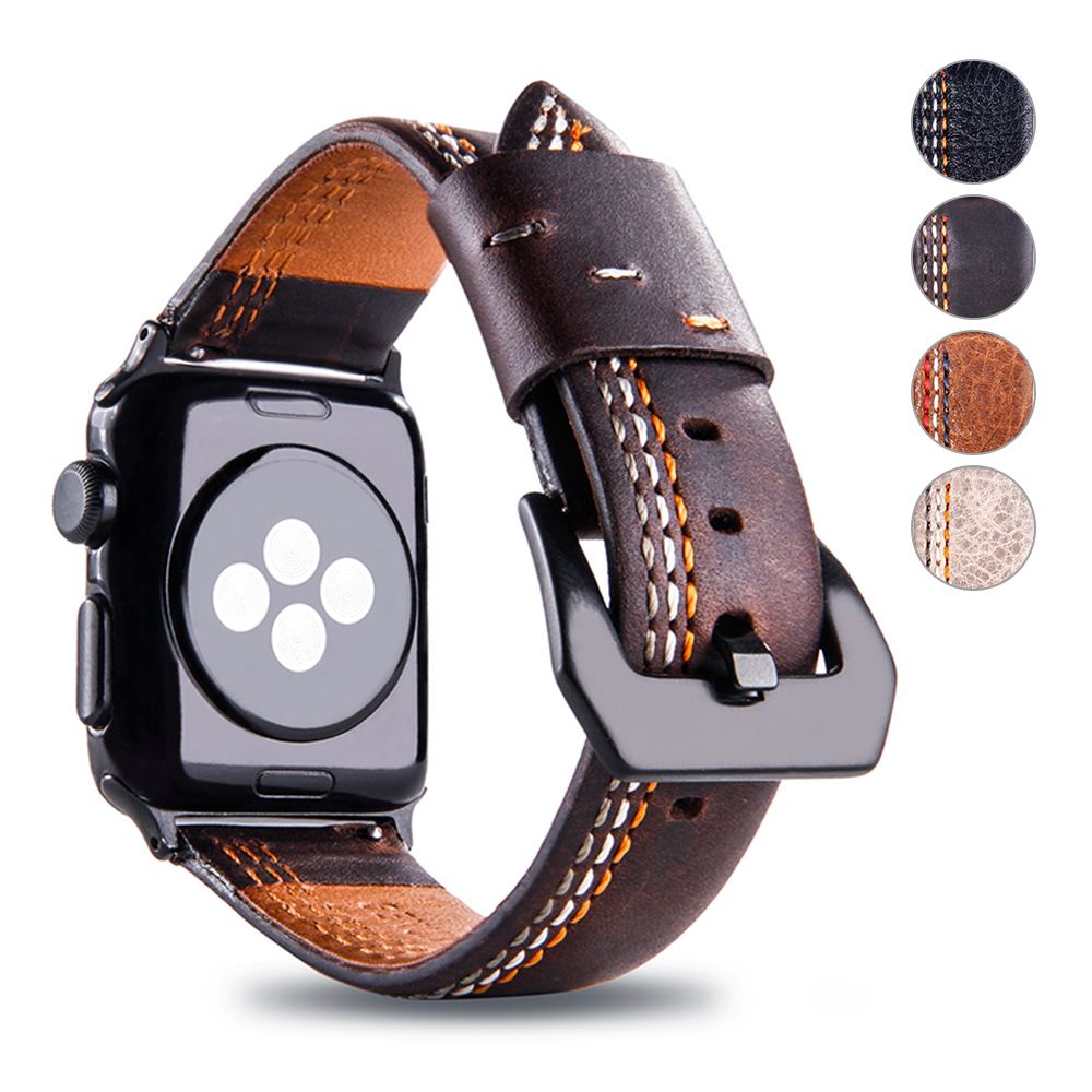 Retro Genuine Leather apple watch bands 44mm 42mm