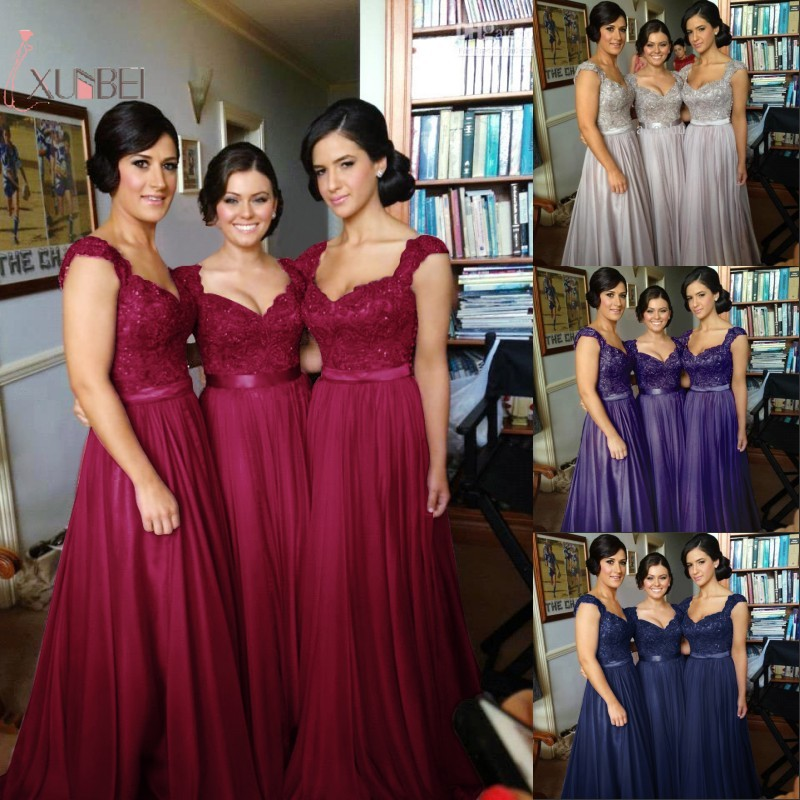 Elegant Purple Burgundy Long Bridesmaid Dresses Chiffon Sleeveless Wedding Party Guest Dress robe demoiselle d'honneur