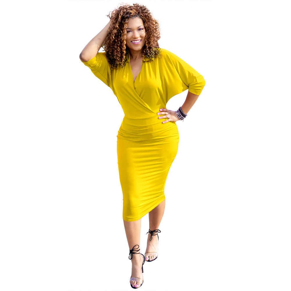 SundressV-צוואר מוצק צבע בת שרוול מקרית שמלה YM-8385 סדיר הולו עיפרון שמלה