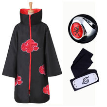 Anime Naruto Akatsuki Cloak Cosplay Costume Uchiha Itachi Ring Headband Women Men Gifts(China)