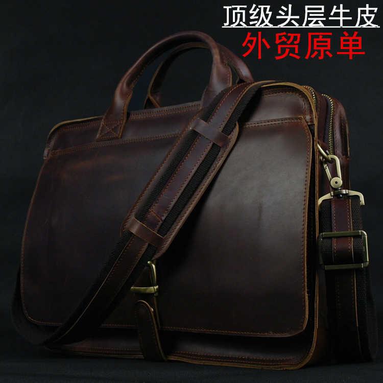 618424fcfc2e Роскошные пояса из натуральной кожи для мужчин Портфели ноутбука кожаная  сумка чемодан портфель деловая сумка,