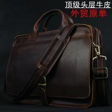 Luxury Genuine Leather Men Briefcase Laptop Bag Leather Briefcase portfolio  men Business bag male briefcase document 7d2767a74469e