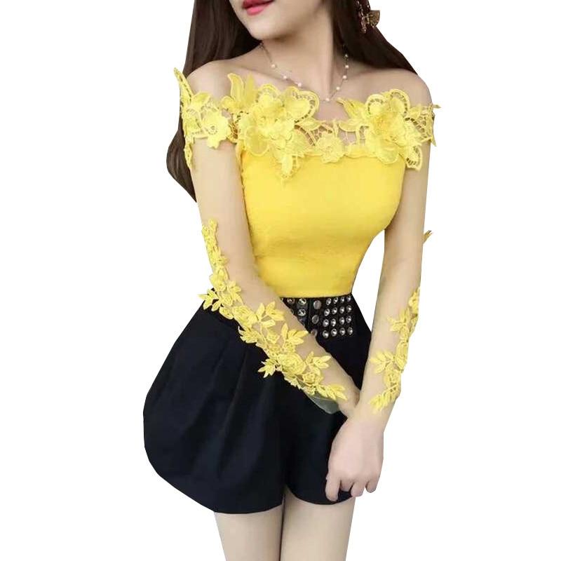 2018 Spring Summer Women Shirt Sweet Floral Lace Blouse Ladies Long Sleeve Slash Neck Backles Mesh Blouses Short Blusas Tops 830