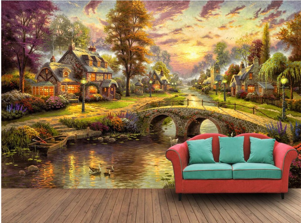 Custom Mural Photo 3d Wallpaper Night View Of The European Forest Cabin Painting 3d Wall Murals Wallpaper For Wall 3d Photo 3d Mural Wallpaper For Wallswallpaper For Walls 3d Aliexpress