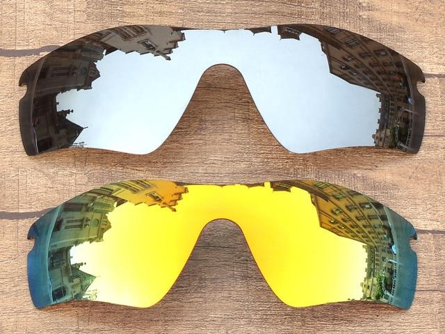 220039c81221f Chrome Silver   Fire Red 2 Peças Espelho Polarizado óculos de Substituição  lentes De Caminho Radar