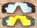 Reemplazo Chrome Silver & Fire Red 2 Unidades Espejo Polarizado lentes Para gafas de Sol de la Trayectoria del Radar Marco 100% UVA y UVB protección