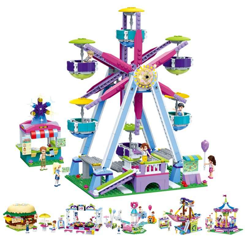 NEW Friends Series Legoingly Amusement Park Ferris Wheel Model Building Blocks Bricks Playgame Toys For Children Girls Toy Gifts