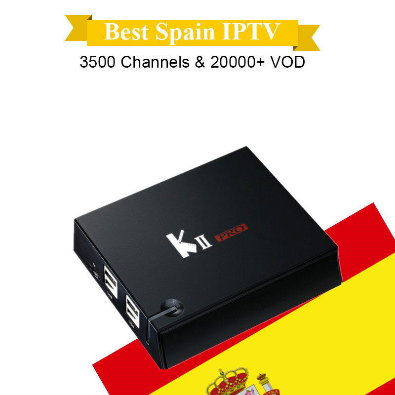 Mecool K2 KII PRO with 1 year Spain IPTV Android 5.1.1 OS DVB-T2/S2 Support Cccam satellite receiver 2GB/16GB S905D Media Player satellite tv receiver decoder solo pro v2 dvb s2 with 1 year ccc m subcription support cccam and iptv