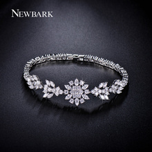 NEWBARK Korea Style Cute Flower Bracelet For Women And Girls Silver Color CZ Diamond Plant Charm Bracelets Boho Jewelry Gifts