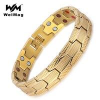 WelMag Healthy Germanium Bracelets For Men 2 Row 4 In 1 Health Elements Magnetic Stainless Steel