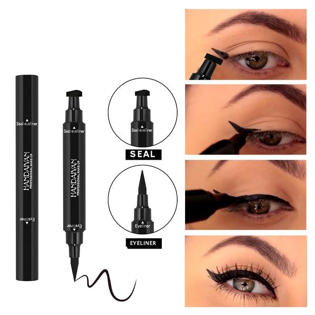 HANDAIYAN Dual-end Ultra Black Eyeliner Stamp Pen Long Lasting Waterproof Eye Liner Liquid Eye Pencil Cat Eye Smoky Make Up