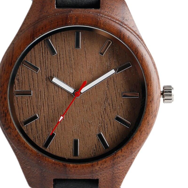 Hombres de bambú creativo reloj de madera de cuarzo correa de cuero - Relojes para hombres - foto 4