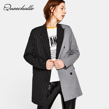 Queechalle 2018 Autumn Suit Jacket Women's Blazer Fashion Striped Formal Office Lady Outerwear Female Notched Long Sleeve Coats