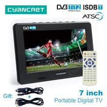 LEADSTAR D7 7 inch Portable TV DVB-T2 ATSC ISDB-T Digital and Analog mini small Car TV Television Support USB TF Card MP4 AC3