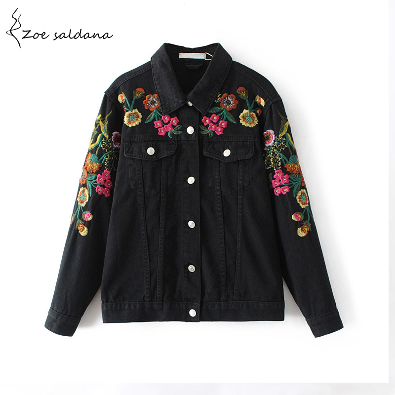 Zoe Saldana 2017 Women Floral Embroidery Black Denim Jacket Female Long Sleeve Single Breasted Vintage Streetwear Coat