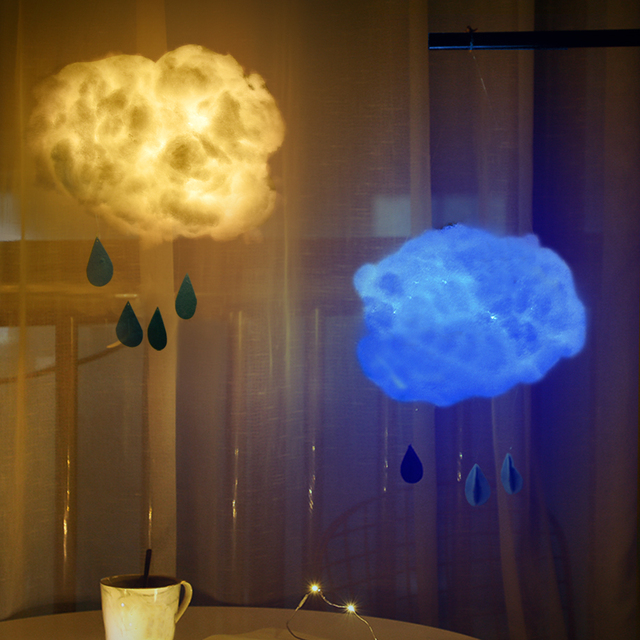 LED Night Light DIY Handmade Cotton Cloud Lights For Festival Holiday Wedding Birthday Home Lighting Decoration