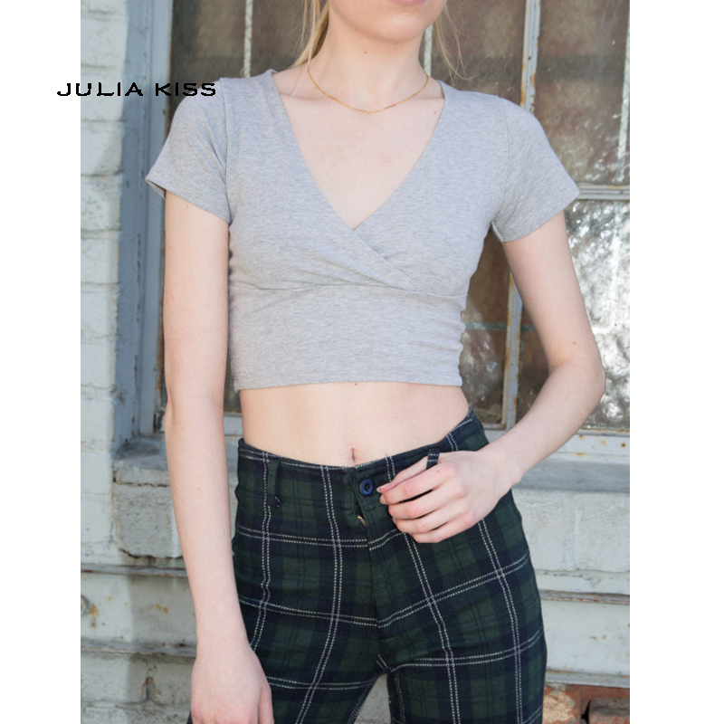 Women Cotton Blend Crossover V-neck Short Sleeve Crop Tee Cropped Fit Top