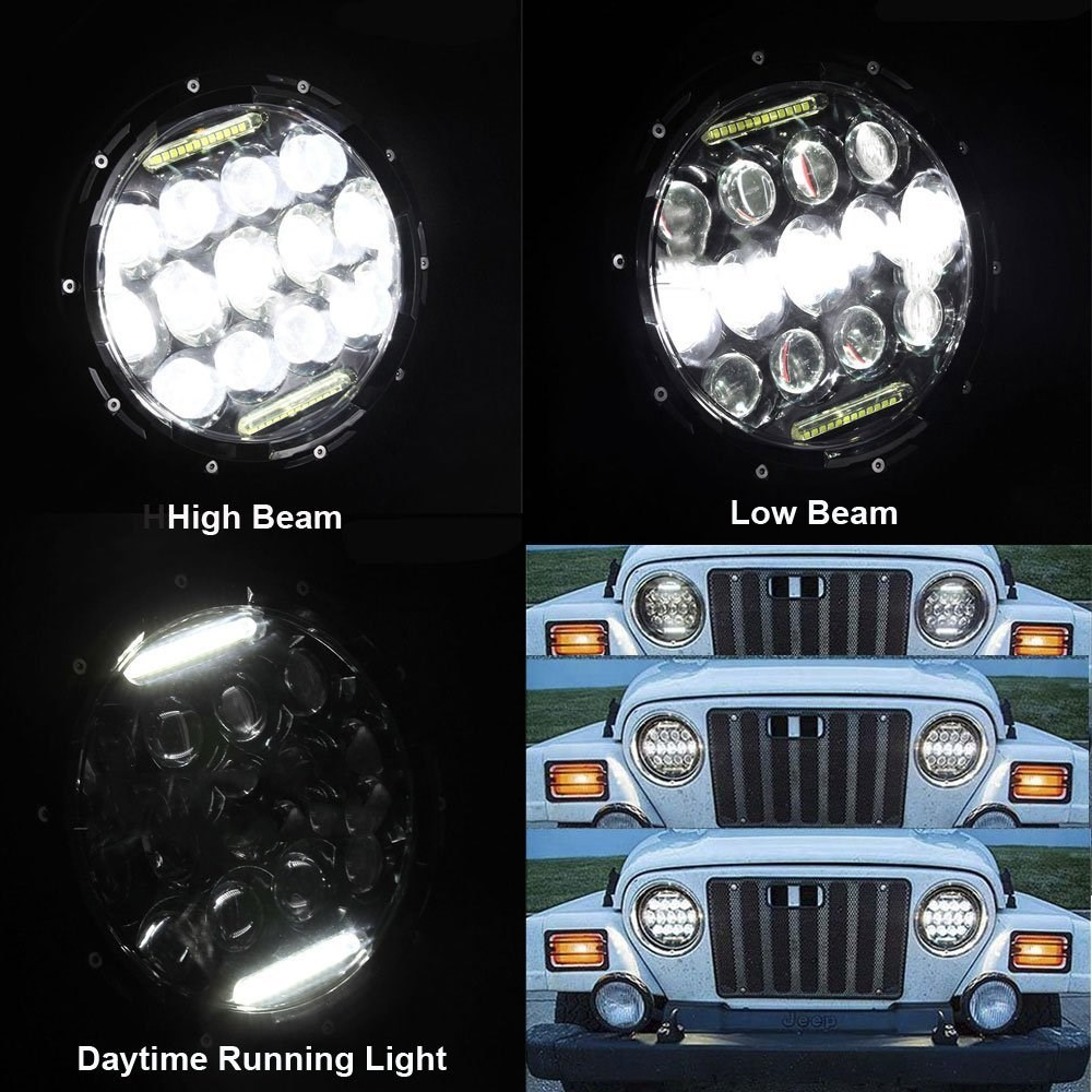 7'' motorcycle headlight High/Low Beam DRL 75W 7INCH Round LED Headlight for Jeep Wrangler 4x4 4WD A4 A6 LED Headlamp 2pcs new design 7inch 78w hi lo beam headlamp 7 led headlight for wrangler round 78w led headlights with drl