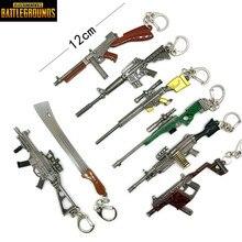 12CM PUBG PC Spelare Playerunknowns Battlegrounds Zink Alloy Gun Modell Kyckling Middag Nyckelring Pan Hängande Action Figurer Leksaker