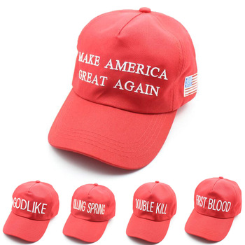 Wysokiej jakości czapka z daszkiem sprawiają że ameryka znów świetnie dla mężczyzn kobiety na co dzień czerwony hafty list USA flaga kapelusz regulowany Hip Hop czapki tanie i dobre opinie Czapki z daszkiem COTTON Dla dorosłych Unisex Jeden rozmiar Adjustable 18031408 Richhaphel